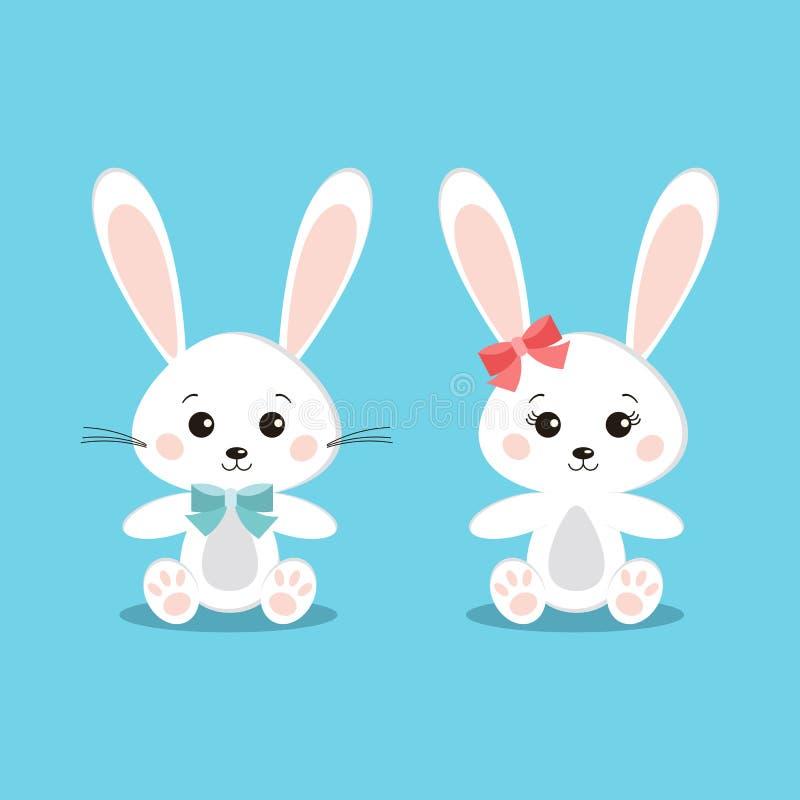 Ställ in av söta och gulliga vita kaninkaniner pojke och flicka stock illustrationer