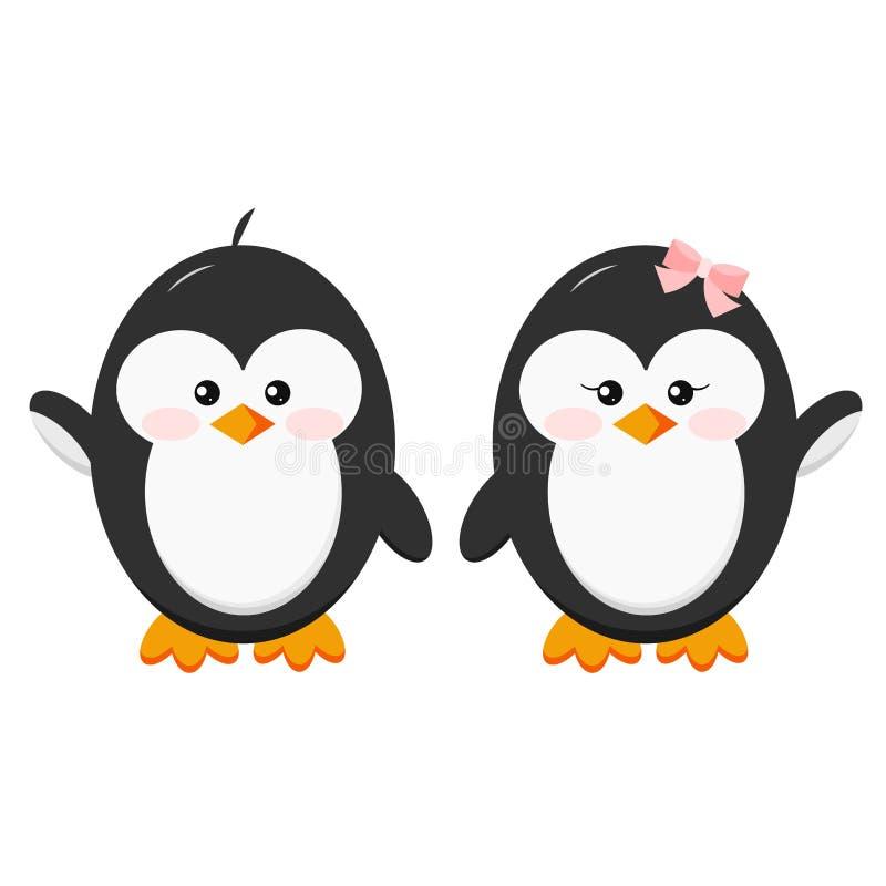 Ställ in av söta partecken - pojken och flickan behandla som ett barn händer för pingvinsymbolshållen royaltyfri illustrationer