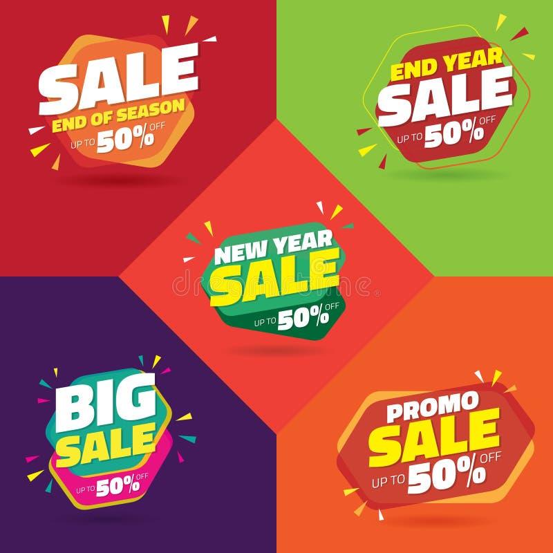 Ställ in av Sale 50% tecken - variant 5 vektor illustrationer