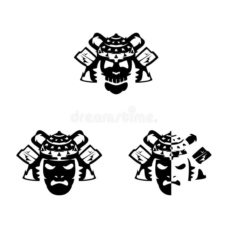 Ställ in av samurajmaskeringar och hjälmar på vit bakgrund stock illustrationer