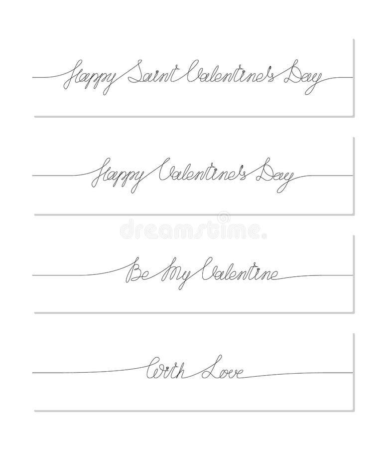 Ställ in av Sanka valentins handskrivna uttryck för dag En linje teckning av uttryck vektor illustrationer