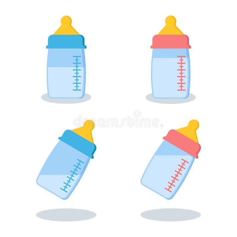 Ställ in av scalable plast-, eller exponeringsglas behandla som ett barn flaskor med mjölkar stock illustrationer