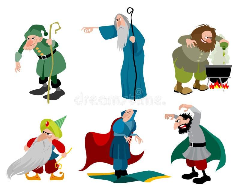 Ställ in av sex onda trollkarlar stock illustrationer