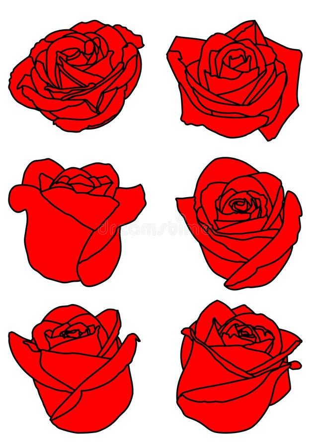 Ställ in av sex röda rosa knoppar vektor illustrationer