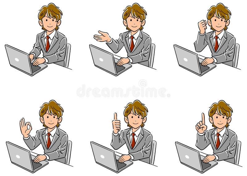 Ställ in av sex typer av den unga affärsmannen som vänder hans framsida till framdelen, medan fungera en persondator vektor illustrationer