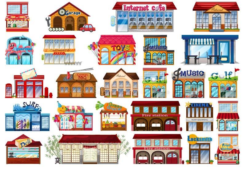 Ställ in av shoppar lagret vektor illustrationer
