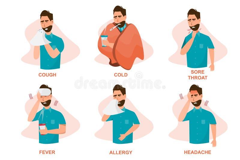 Ställ in av sjukt folk som känner sig opassligt, hosta och att ha den kalla öm halsen, feber, allergi och, huvudvärken vektor illustrationer