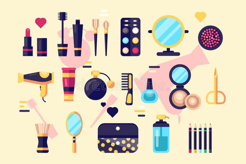 Ställ in av skönhetsmedelskönhet- och makeupsymboler vektor illustrationer