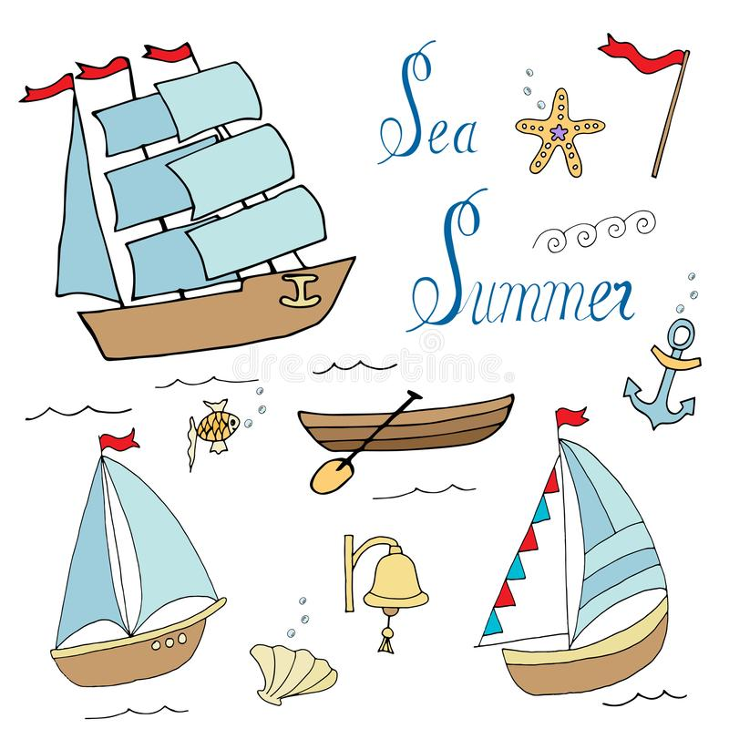 Ställ in av skepp för marin- design stock illustrationer
