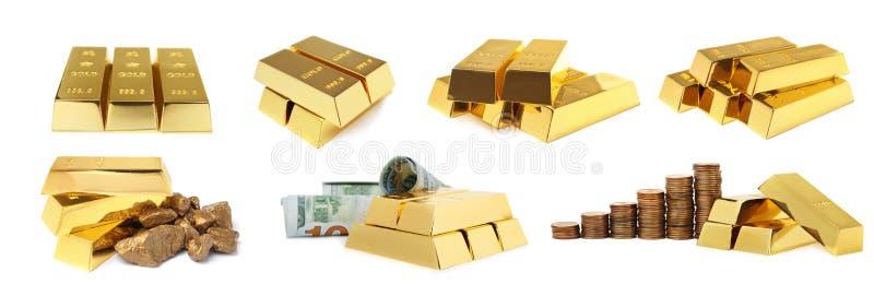 Ställ in av skinande guld- stänger, klumpar och pengar arkivfoton