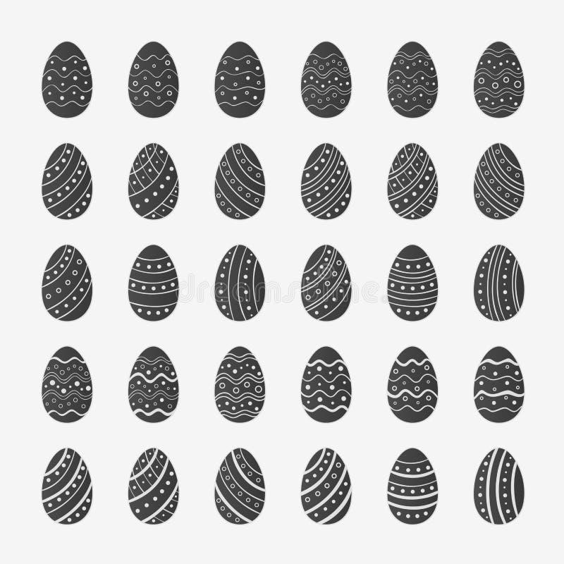 Ställ in av skissar symboler av påskägg royaltyfri illustrationer