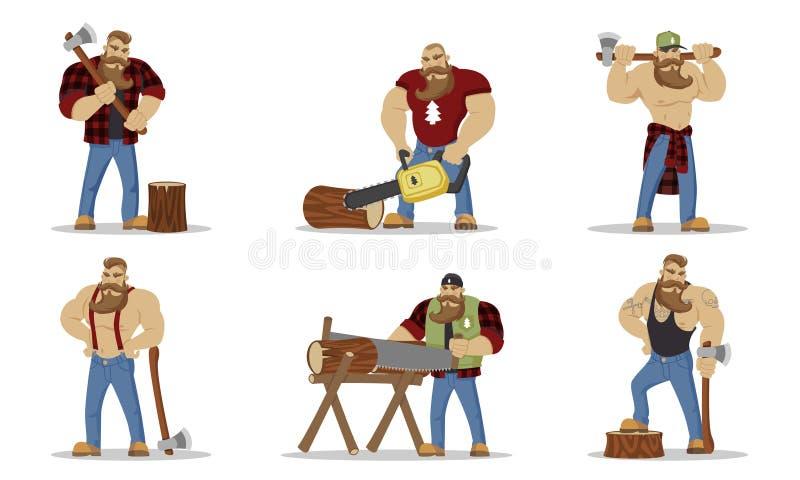Ställ in av skogsarbetare som uppsökt brutalt mans i röd rutig skjorta med yxan i händer skogshuggarear Fotvandra och loppbegrepp stock illustrationer