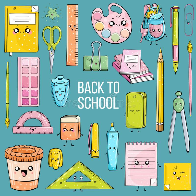 Ställ in av skolatillförsel i kawaistil på blå bakgrund vektor illustrationer