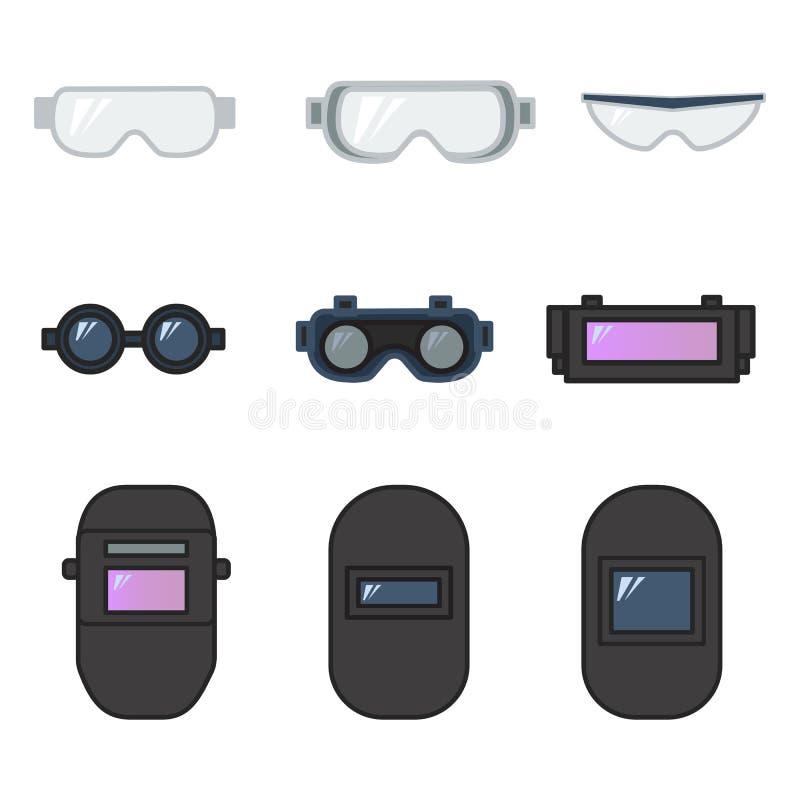 Ställ in av skyddsglasögon för vektorillustrationsäkerhet och svetsande hjälm vektor illustrationer