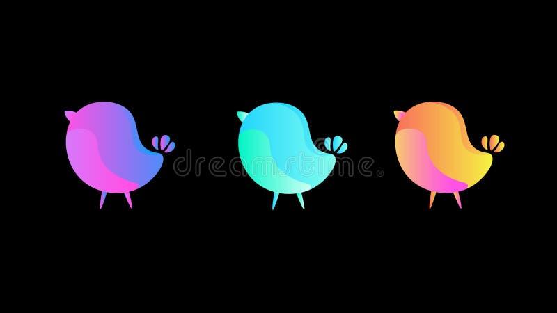 Ställ in av små fåglar för lutning på en mörk bakgrund royaltyfri illustrationer