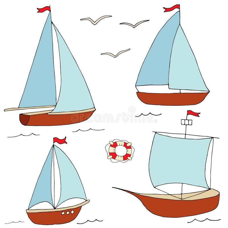 Ställ in av små skepp för marin- design stock illustrationer