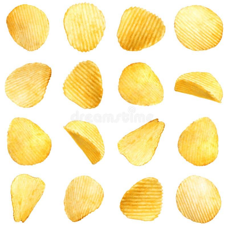 Ställ in av smakliga ridged potatischiper arkivfoton