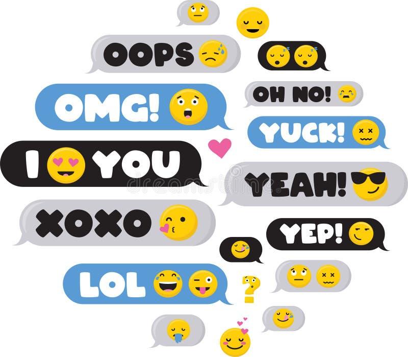 Ställ in av SMS bubblameddelanden med den dialogord och emoji-vektorn stock illustrationer
