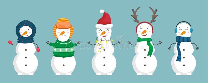 Ställ in av snögubbear i julkläderna Plan tecknad filmillustration royaltyfri illustrationer