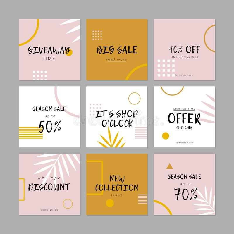 Ställ in av sociala massmediarengöringsdukbaner för shopping, försäljningen, produktbefordran vektor illustrationer