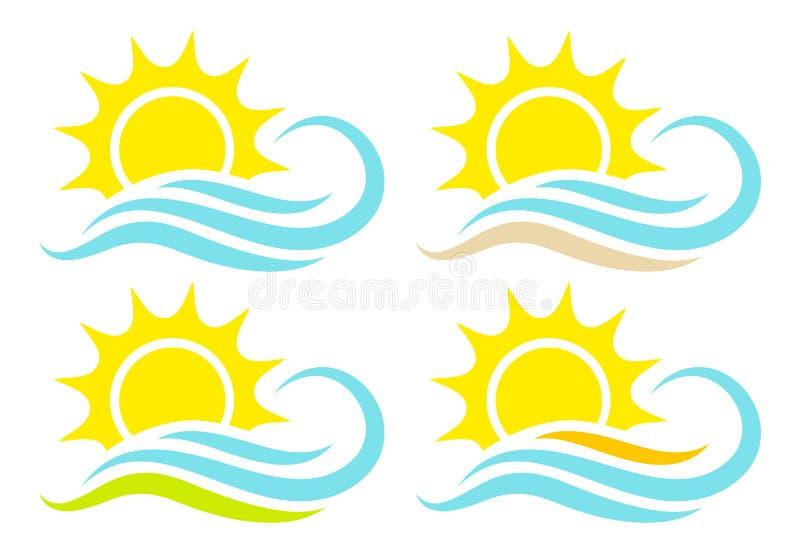 Ställ in av solen för fyra symboler och vinkar abstrakta landskap stock illustrationer
