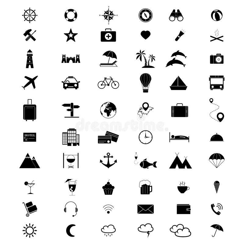 Ställ in av sommar för symboler för feriesemesterlopp 60 stock illustrationer