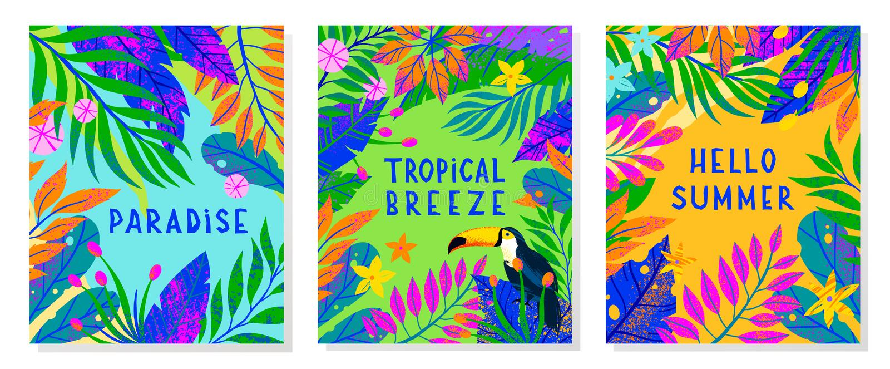 Ställ in av sommarvektorillustration med den ljusa tropiska sidor, blommor och tukan arkivfoto