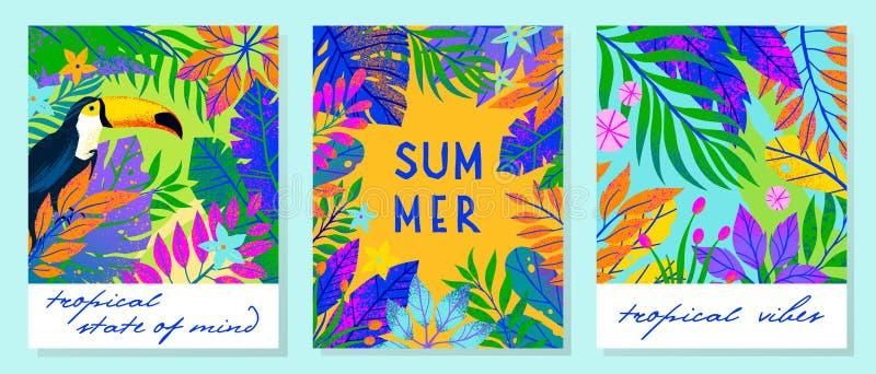 Ställ in av sommarvektorillustrationer med tropiska sidor, blommor och tukan royaltyfria bilder