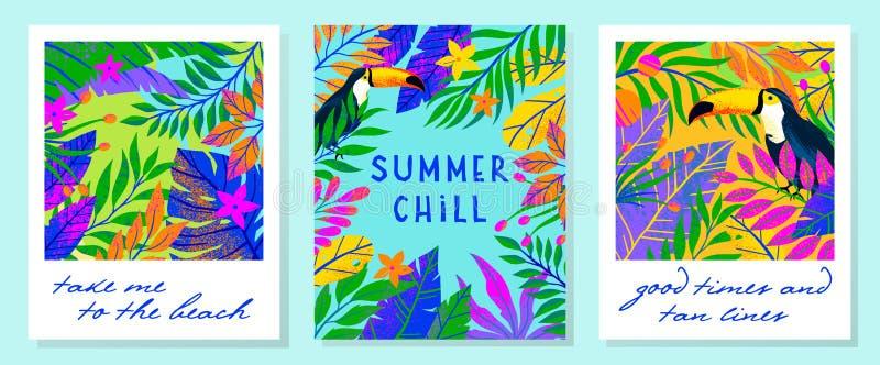 Ställ in av sommarvektorillustrationer med tropiska sidor, blommor och tukan fotografering för bildbyråer