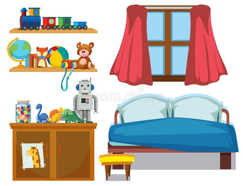 Ställ in av sovrumbeståndsdel royaltyfri illustrationer