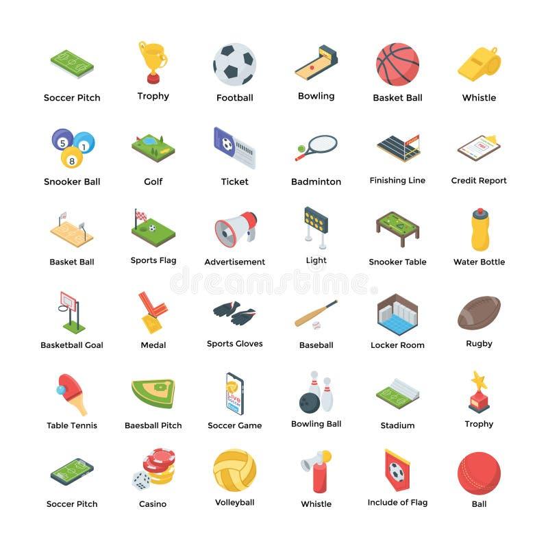 Ställ in av sportar som symboler packar stock illustrationer