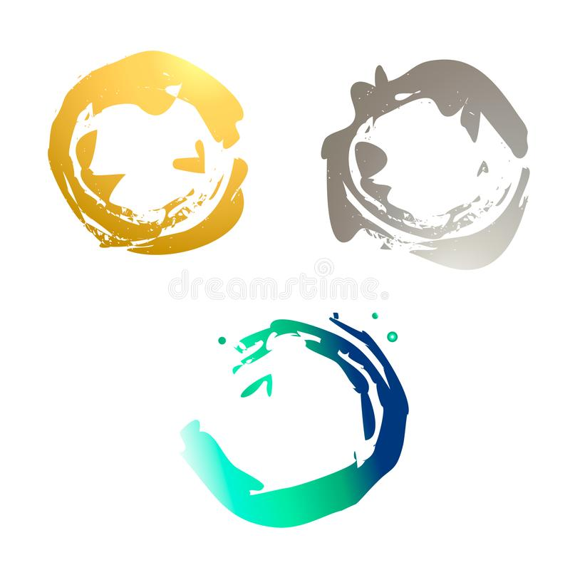 Ställ in av stämpel och fläckar av guld- och silver-färgade hav-gräsplan logoer royaltyfri illustrationer