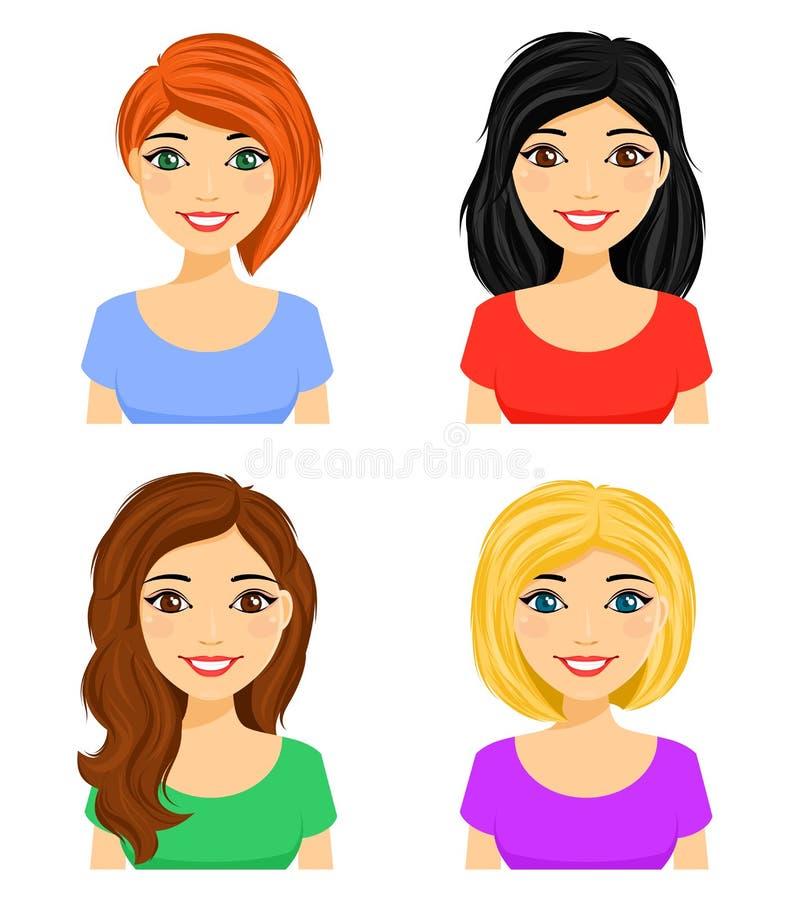 Ställ in av stående av unga flickor med olika frisyrer olikt h?r f?r f?rg stock illustrationer