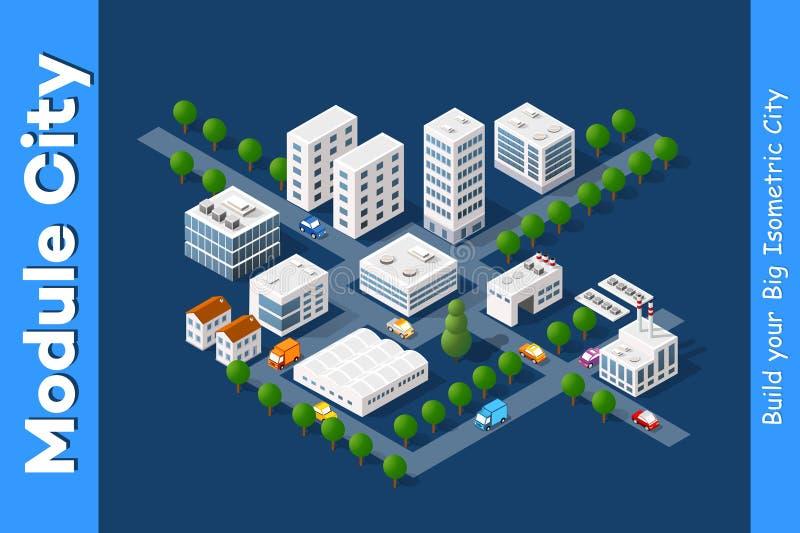 Ställ in av stadområdet av staden royaltyfri illustrationer