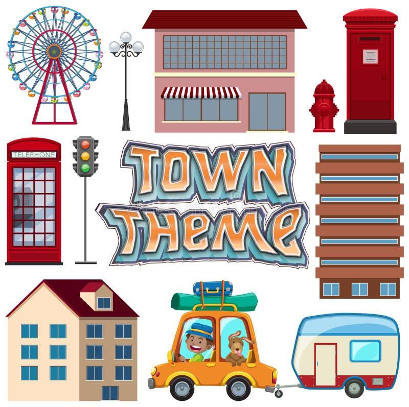 Ställ in av stads- stadbeståndsdel royaltyfri illustrationer