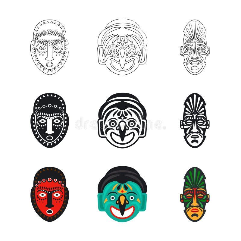 Ställ in av stam- afrikanska maskeringssymboler som isoleras på vit bakgrund royaltyfri illustrationer