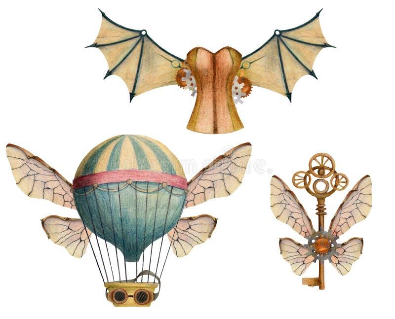 Ställ in av steampunkbeståndsdelar med luftballonger, vingar, tangenter, exponeringsglas, korsett arkivbild
