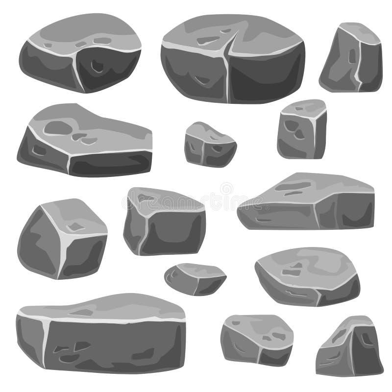Ställ in av stenar för modig konst Gr? f?rg vaggar royaltyfri illustrationer