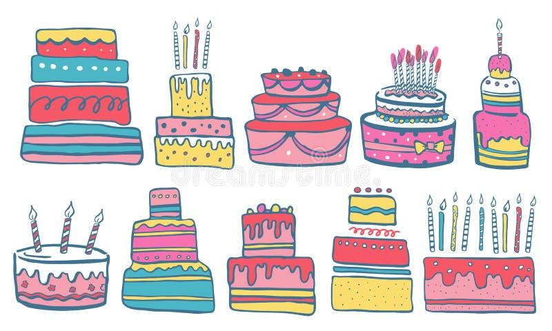 Ställ in av stiliserade födelsedagkakor med stearinljus och garneringar För tecknad filmvektorn för handen skissar utdragen färg  vektor illustrationer
