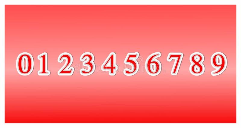 Ställ in av stilsortsnummer från noll till nio, designbeståndsdelar för symbolen som 3d isoleras på röd bakgrund illustrationvekt stock illustrationer