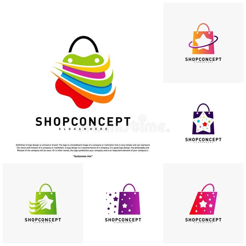 Ställ in av stjärnan shoppar Logo Design Concept Köpcentrum Logo Vector Shoppa och gåvasymbolet royaltyfri illustrationer
