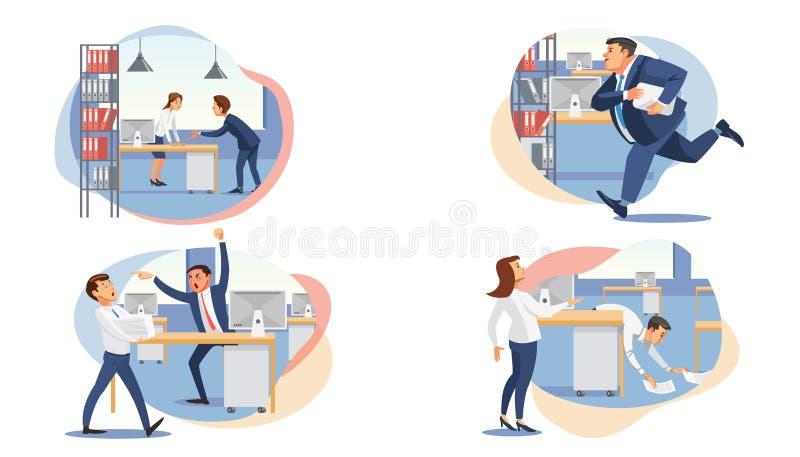 Ställ in av stressade plana vektorer för affärsfolk vektor illustrationer