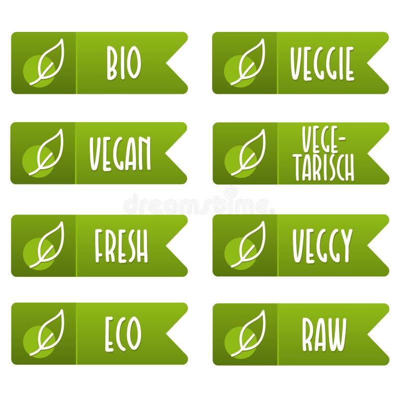 Ställ in av strikt vegetarianetikett och etikettsbaner Grön färg för emblem och för band arkivbilder