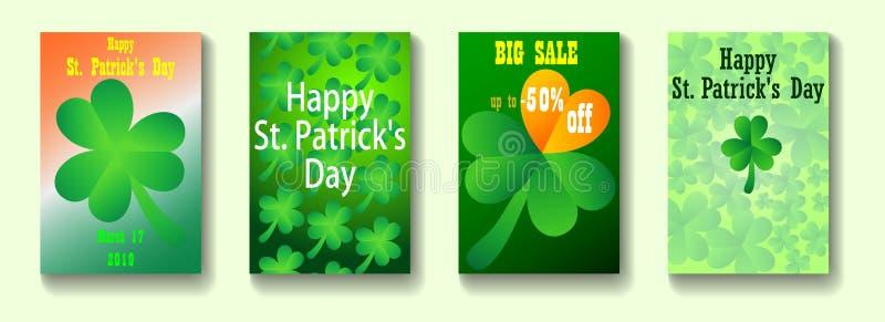 Ställ in av Sts Patrick dagräkningar Affischer för gröna färger vektor illustrationer