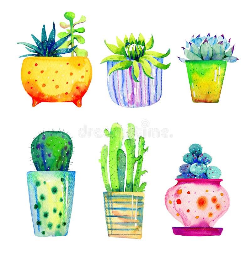 Ställ in av suckulenter och kakturs i blomkrukor Skissar utdragen färg för vattenfärghanden illustrationen royaltyfri bild