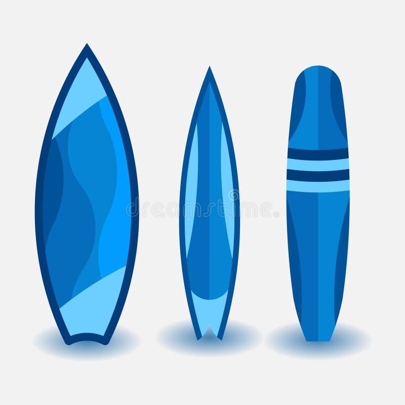 Ställ in av surfingbrädor, designen i en plan stil, vattensport vektor illustrationer