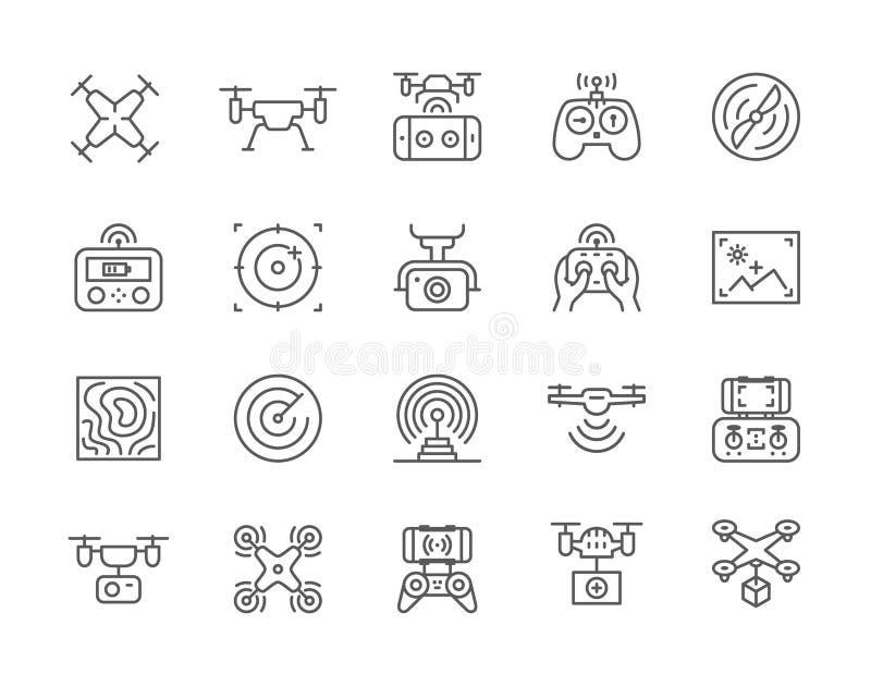 Ställ in av surrlinjen symboler Avlägsen kontrollant, propeller, handlingkamera och mer royaltyfri illustrationer