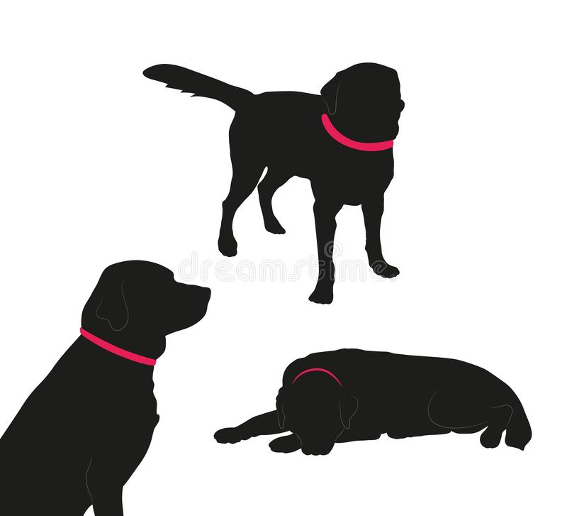 Ställ in av svart kontur av den stora hunden med kragen på vit bakgrund arkivbild