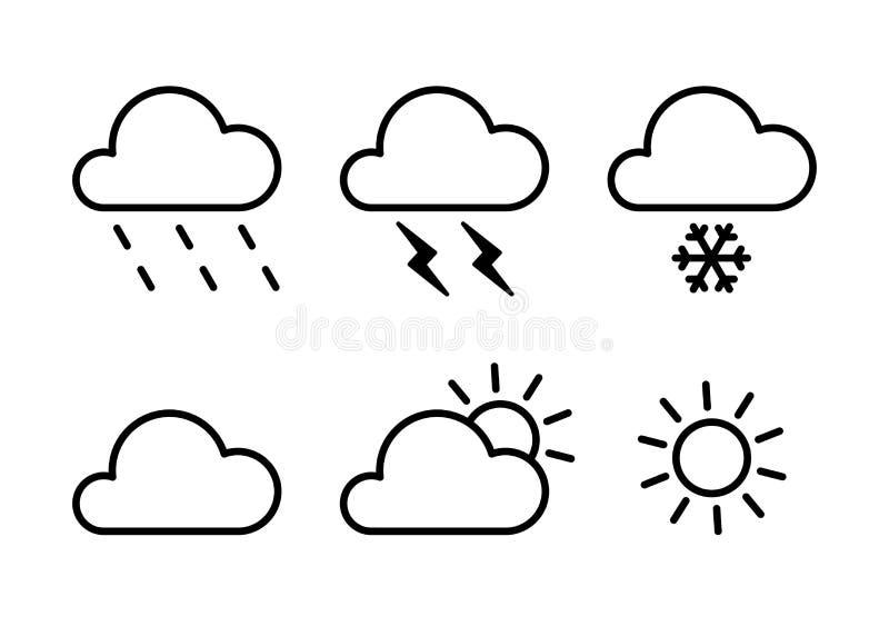 Ställ in av svarta isolerade översiktssymboler av väder på vit bakgrund Linje symboler av meteorologiska symboler Plan design Sol stock illustrationer