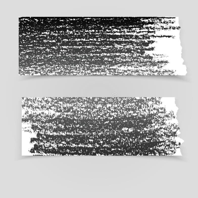 Ställ in av svarta pappers- baner för grunge vektor illustrationer